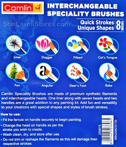 Camlin Interchangeable Speciality Brushes Quick Strokes Unique Shapes 8 Brushes Features