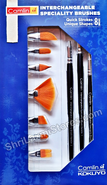 Camlin Interchangeable Speciality Brushes Quick Strokes Unique Shapes 8 Brushes
