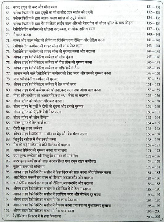 Hindi Edition Of Refrigeration and Air Conditioning Practical Book ITI Index 3