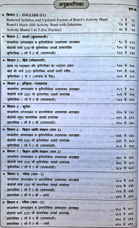 Navneet Practice Papers & Acitivity Sheets Book Index  - Marathi Medium
